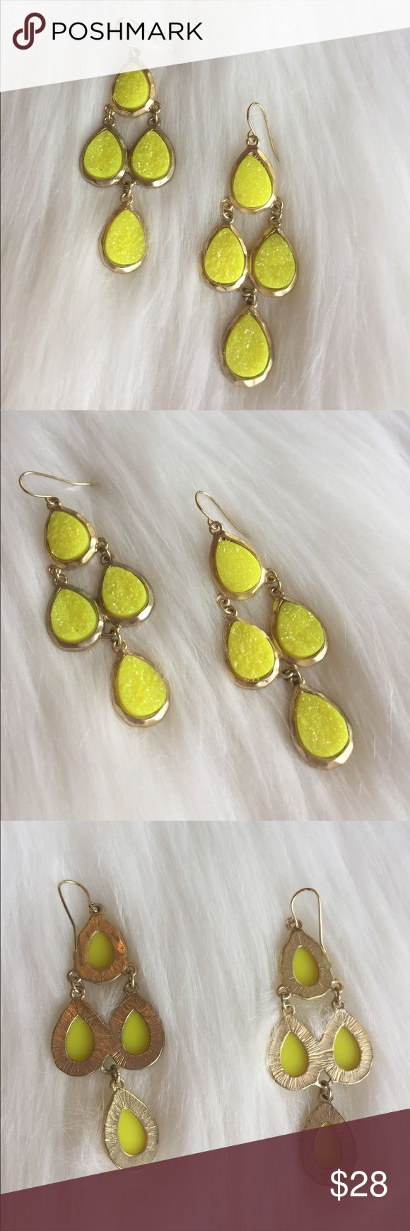 "Stella & Dot Bright Yellow Chandelier Earrings Stunning Stella & Dot Bright Yellow & Gold Chandelier Earrings that have a Druzy sparkle look! A perfect statement earring! 3"" in length. Some of the gold has discoloration. Please see photos. MW508062917 Stella & Dot Jewelry Earrings"