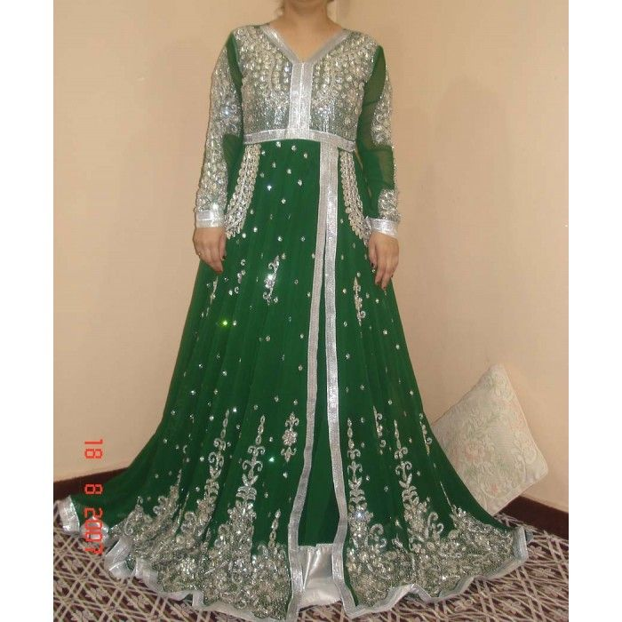 Exquisite Green Hand Embroidered Dress