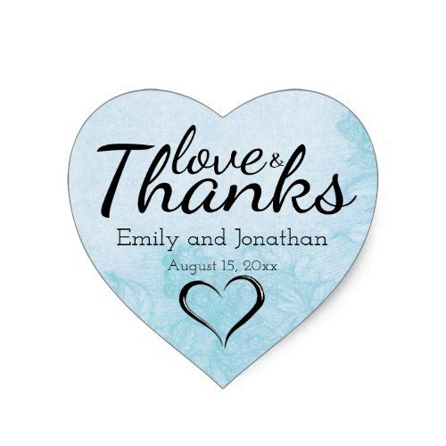 Summer Blue Heart Wedding Cake Box Stickers Custom