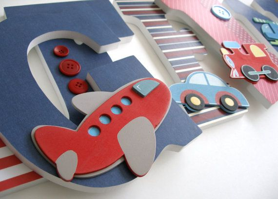 Custom Decorated Wooden Letters CARS TRAINS & PLANES by LetterLuxe, $25.00