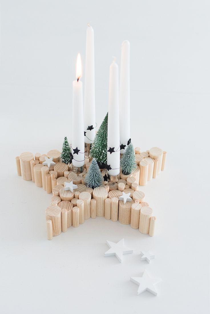 DIY Adventskranz aus Naturholz in Sternform