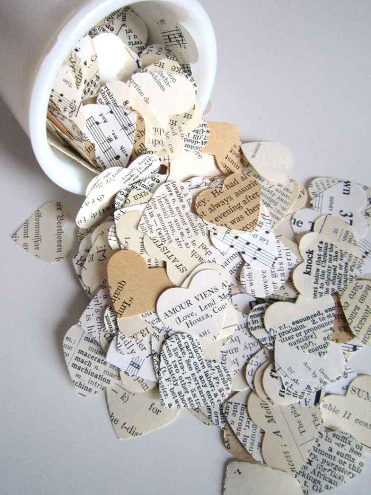 Wedding Confetti Eclectic Paper Hearts -500- romantic heart wedding confetti Shabby Chic wedding decor wedding favors vintage sheet music. $16.50, via Etsy.