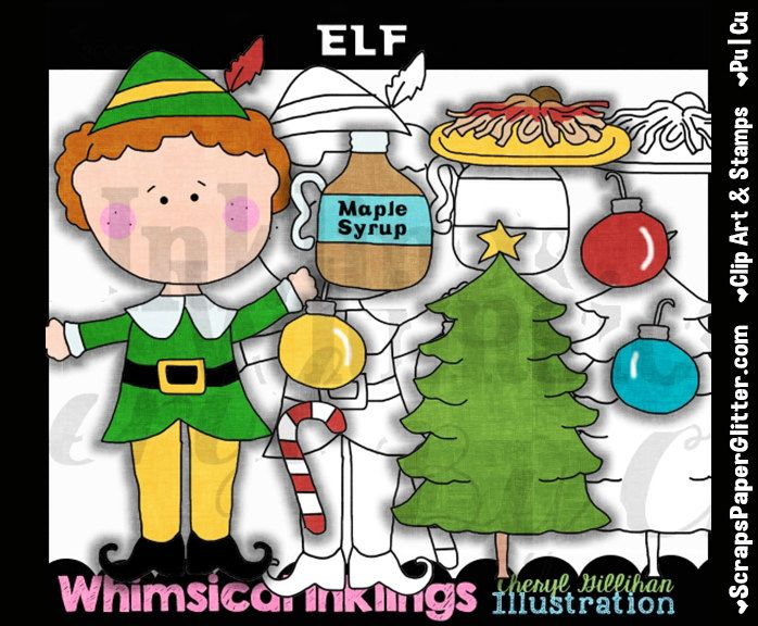 Elf Clip Art, BONUS Lineart, Commercial Use, Digital Stamps, Clipart, Black & White, Movie, Will Ferrell, Maple Syrup, Spaghetti, Comedy by ResellerClipArt on Etsy