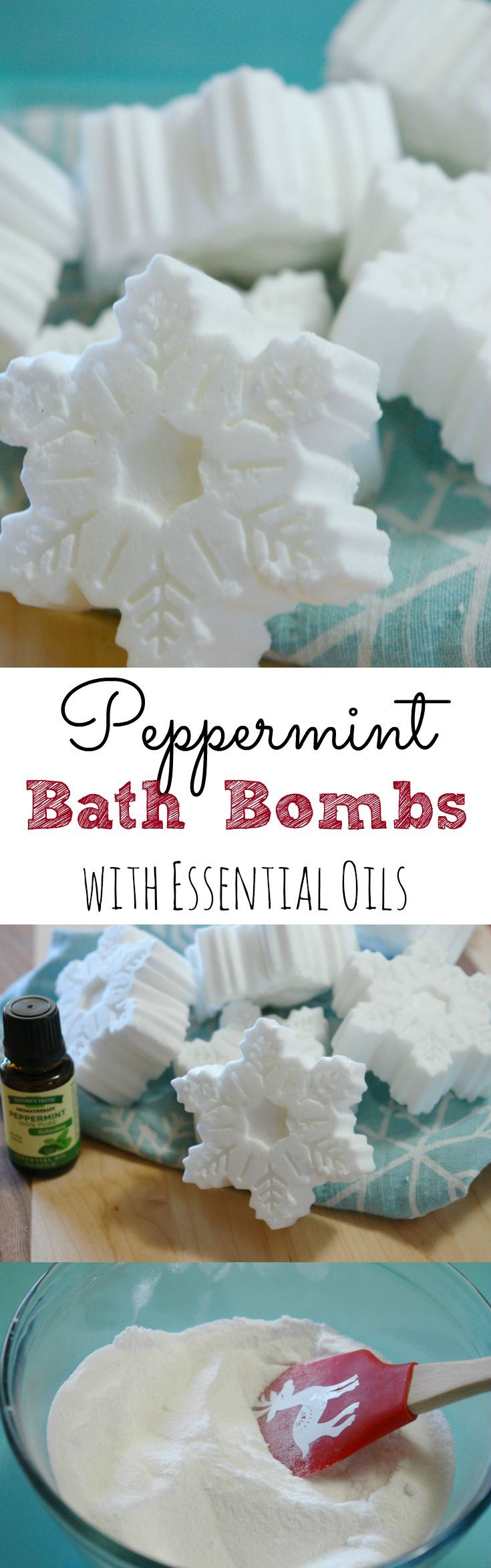 Easy, DIY peppermint bath bombs using essential oils. They make the perfect homemade gift! #shop #StimulateTheSenses #ad