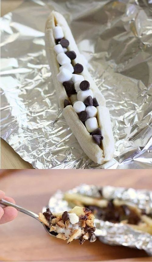 Banana Smores.. Foil. Slice a banana.  Add mini mellows, crunched up grham cracker, and chocolate. Seal. Roast/bake.  Enjoy :)