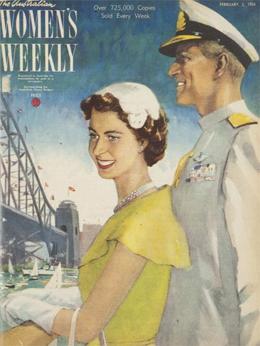 The Australian Women's Weekly. An illustration of the Queen and Prince Philip arriving on their first royal tour of Australia.