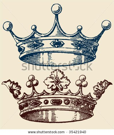 old crown set - stock vector