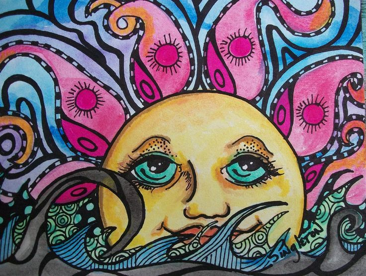 sun art | Psychedelic Sun and Sea Singleton Hippie Art by justgivemepeace