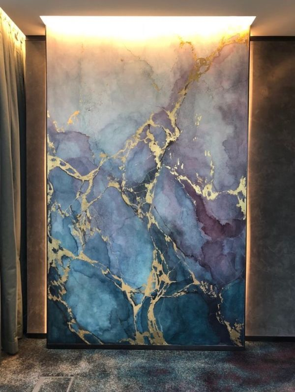 Blue And Purple Watercolour Marble Effect By Elsa Jeandedieu Studio At K11 Atelier Watercolor Mural Marble Wall Mural Wall Painting