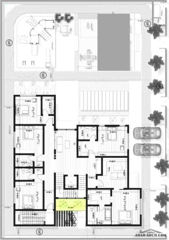 مخطط فيلا دورين وملحق علوي مساحة الارض المناسبة 34 في عمق 24 تصميم شركة فاس Villa Design House Plans Design