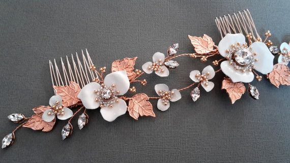 Rose Gold  comb Rose gold crystals comb wedding by ZTetyana