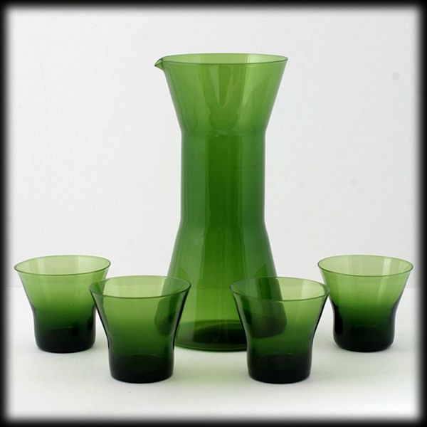 Aseda Moss Green Pitcher and Cocktail Glasses Set Bo Borgstrom 1960s