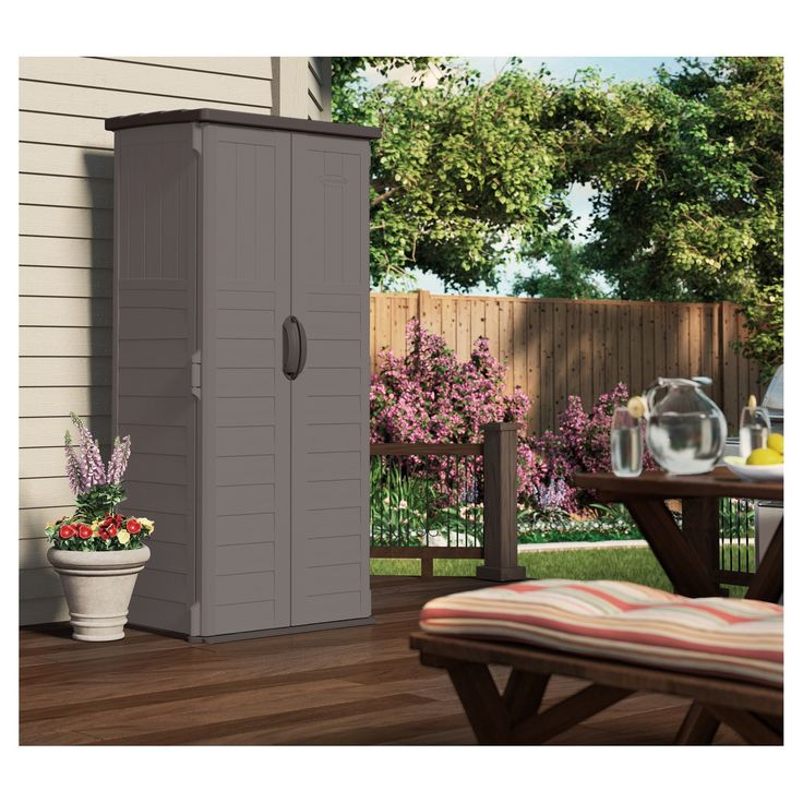 The Suncast 22 Cubic Feet Vertical Shed is just the right size storage option because it fits in places other sheds can't. Rain or shine, this vertical shed is designed to ensure your belongings or other outdoor lawn items stay dry and safe no matter what the season.  This shed features double wall resin construction ensuring it is built to last for years.  The easy maintenance and assembly along with the durability explains why Suncast storage sheds have been a favorite choice for many y...