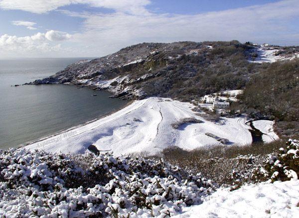 Pwlldu Bay in snow