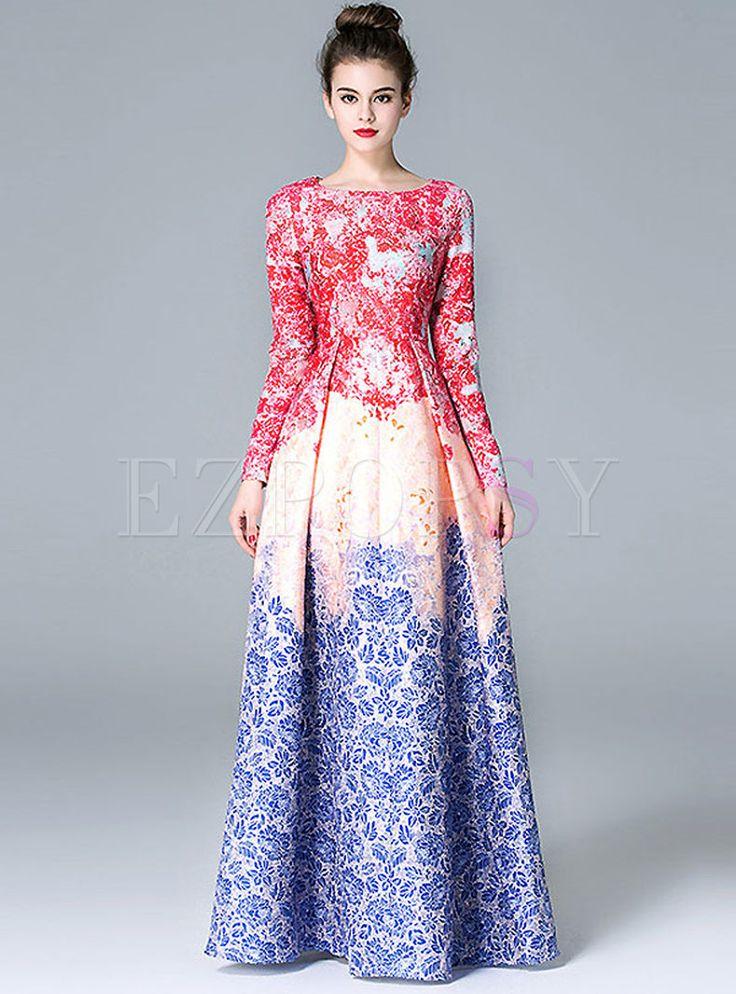 Shop for high quality Fashionbale Print Jacquard Big Hem Maxi Dress online at cheap prices and discover fashion at Ezpopsy.com