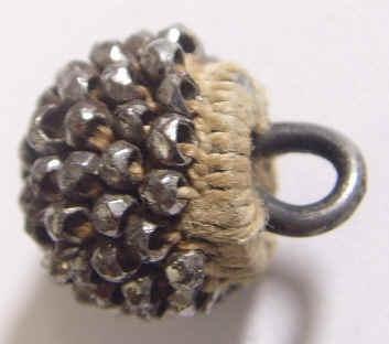 Rare Antique Woven & Cut Steel Beaded Raspberry Button; Circa 1800's