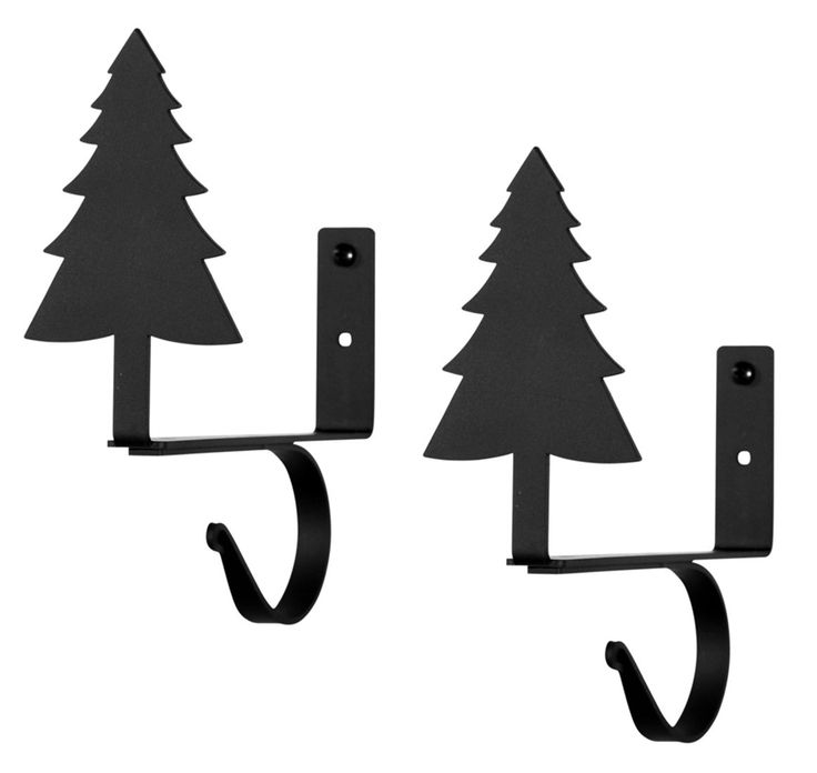 Wrought Iron Pine Tree Curtain Rod & Shelf Brackets