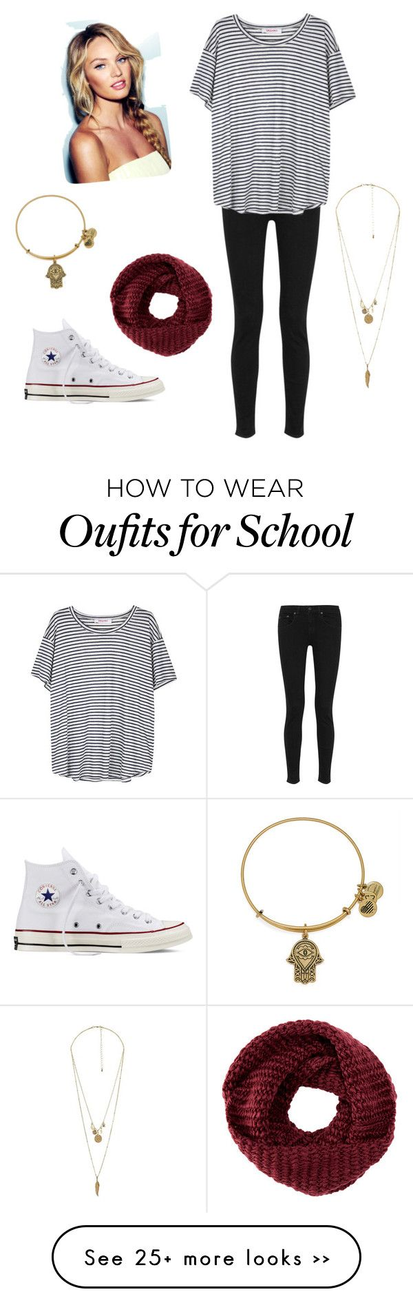 """""""easy fall school outfit"""" by boyettesk on Polyvore featuring rag & bone, Organic by John Patrick, Converse, TOMS, Alex and Ani and Charlotte Russe"""