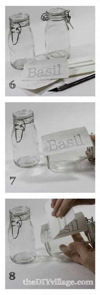DIY Spice Rack by theDIYvillage.com |  ♥ love the glass jars & the labeling ♥ (jars from Hobby Lobby!?!?)