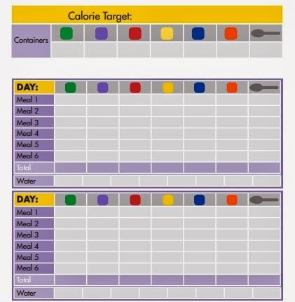 21 day fix container sizes | Track your container usage each day with this handy chart that is ...