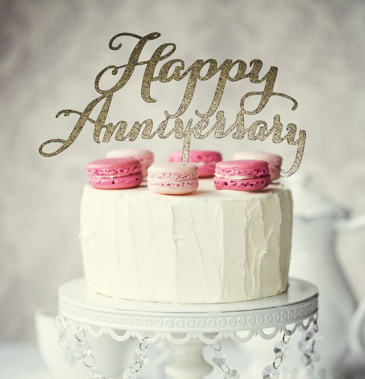 HAPPY ANNIVERSARY Cake Topper (Gold)