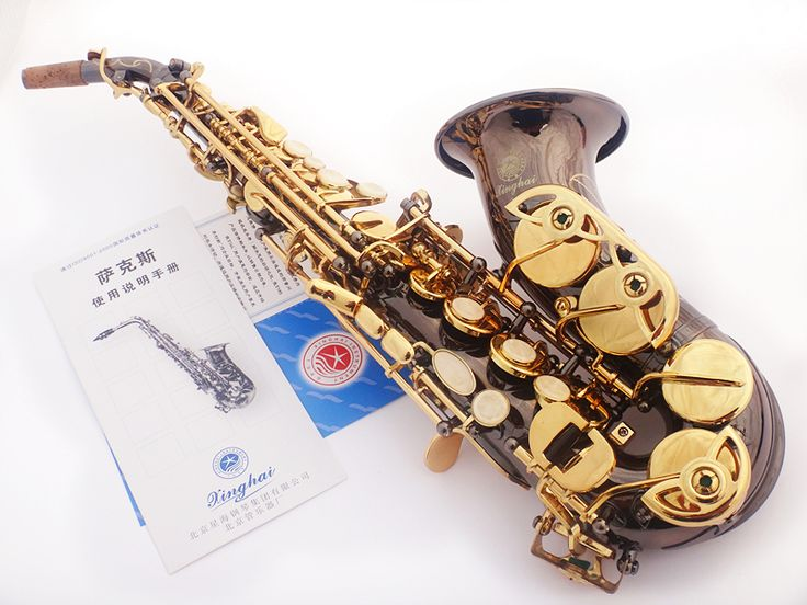 2017 New high-pitched Black Nickel Gold Bb curved Soprano Saxophone B sax musical instrument saxophone Flat Adult Children #Affiliate