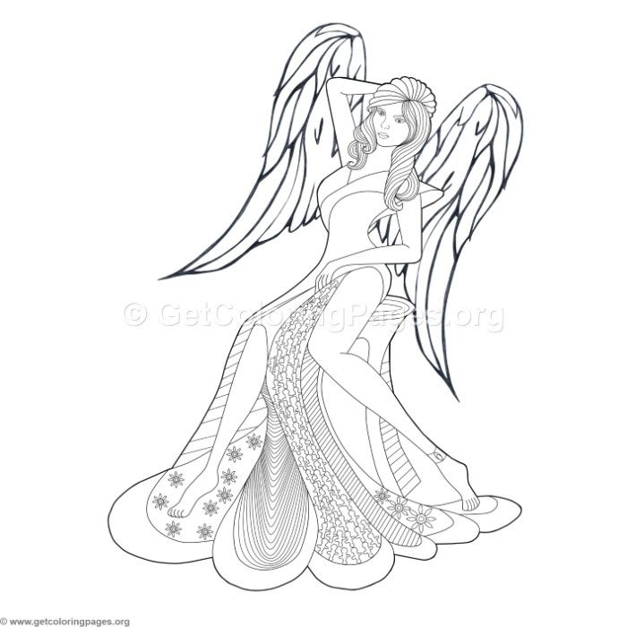 Free Instant Download 9 Fashion Angel Coloring Pages Coloring
