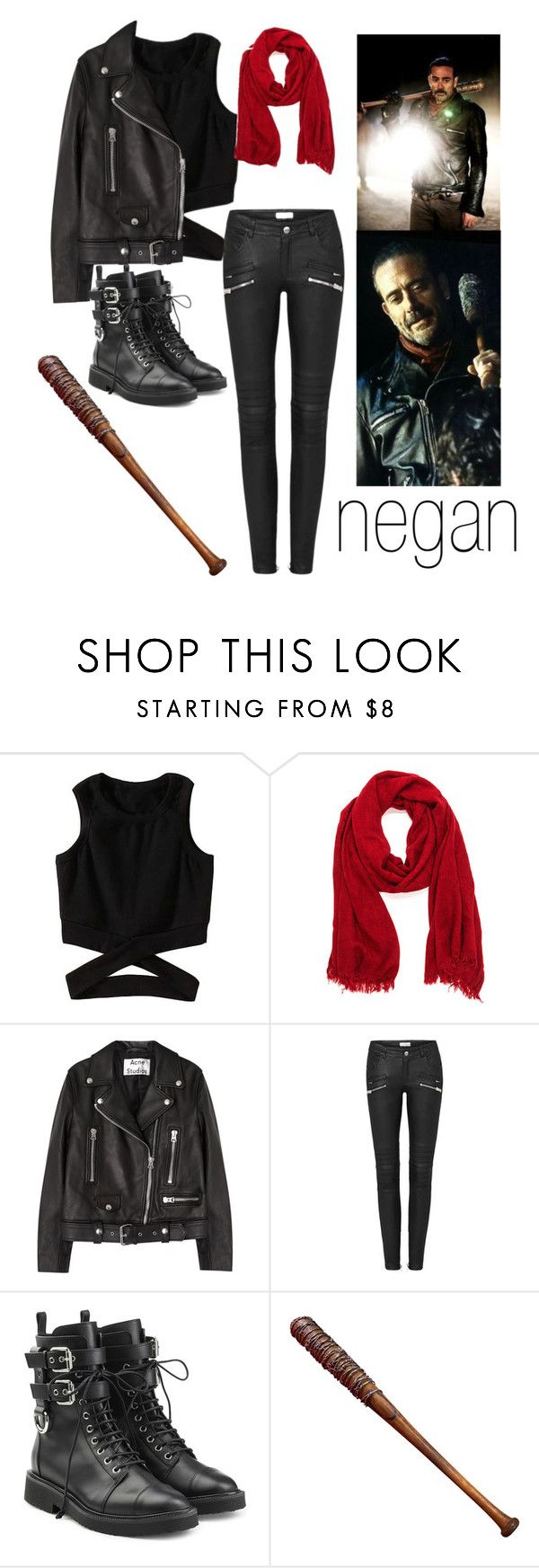 """""""negan (female)"""" by cielstrancy ❤ liked on Polyvore featuring Acne Studios, Giuseppe Zanotti and Lucille"""