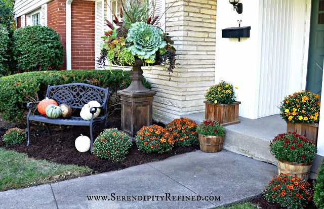 Fall Front Porch and Fabulous Urn Planter - Fox Hollow Cottage