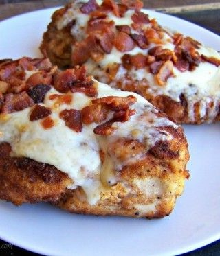 Parmesan Crusted Chicken w/ Asiago and Bacon  --  moist  and delicious chicken breasts every time.