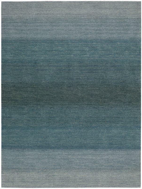 Linear Glow Hand Knotted Wool Watercolor Aqua Area Rug Aqua Rug