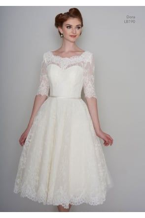 DORA Tea Length Vintage Lace 1950s 60s Short Wedding Dress With 1/2 Sleeve