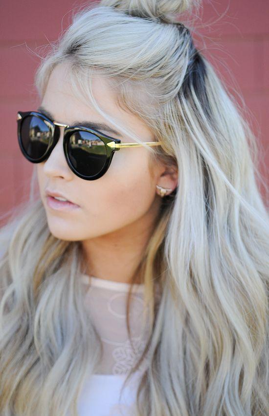 half up hair // super cute + love these sunnies!