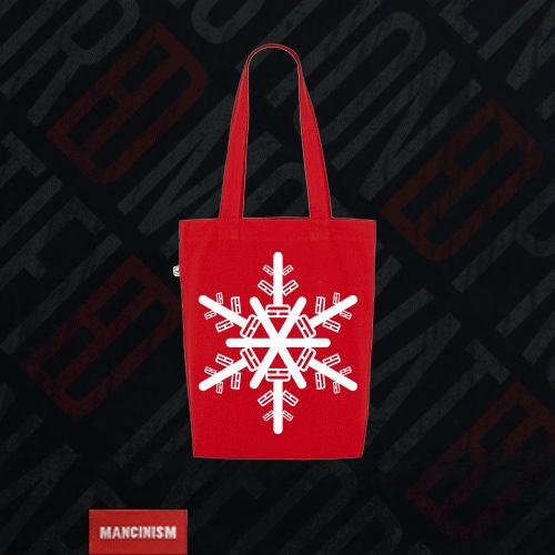 "Xmas Stocking are so 1999, save with our timeless Organic ""SnowflakED"" Fashion Totes: £5 (save £2)"