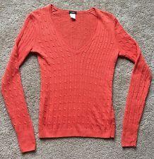 J. CREW Women's Orange Cable Knit Linen Sweater Shirt Size Small