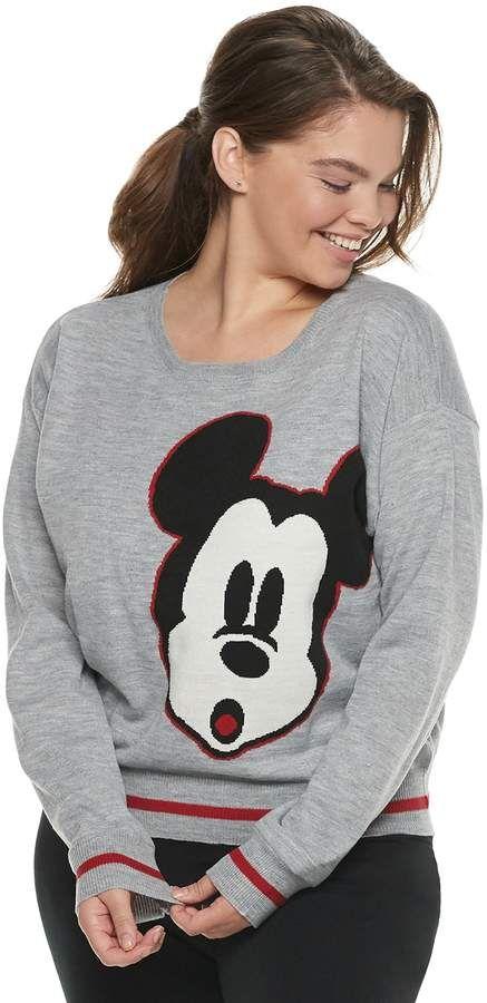 c80667ed8b Disney s Mickey Mouse 90th Anniversary Juniors  Plus Size Intarsia Sweater   vibe retro lend
