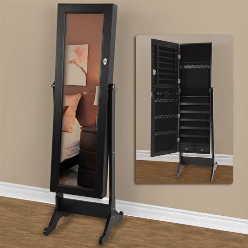 Black Mirrored Jewelry Cabinet Armoire Stand, Mirror, Necklaces, US Texas seller