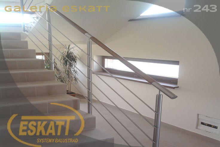 Stainless steel balustrade, with stainless steel horizontal filling;wooden handle #balustrade #eskatt #construction #stairs