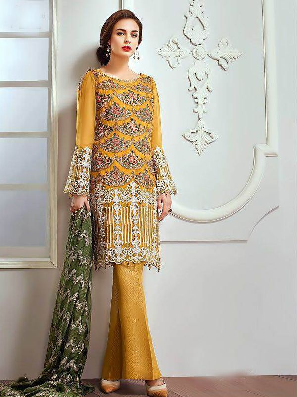 ca133a03c6 Embroidered Faux Georgette Pakistani Suit in Yellow | Salwar Kameez ...