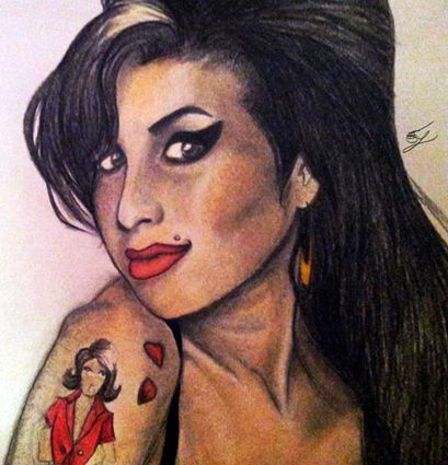 Amy Winehouse: primo piano del ritratto di Amy Winehouse.