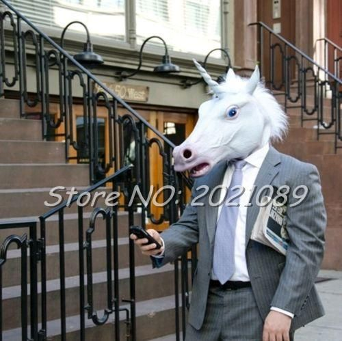 #BestPrice #Fashion New Unicorn Horse Head Mask Halloween Costume Party Gift Prop Novelty Masks Latex Rubber Creepy