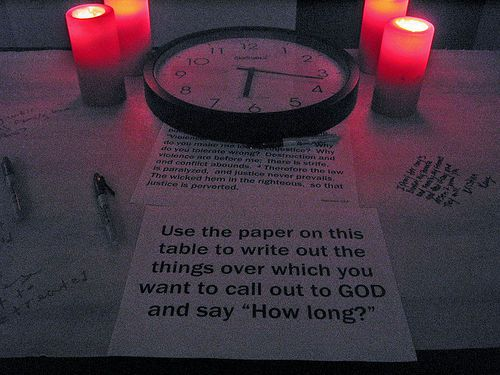 "Prayer Station Idea: Habakkuk table, in which students can cry out to God ""How Long?"""