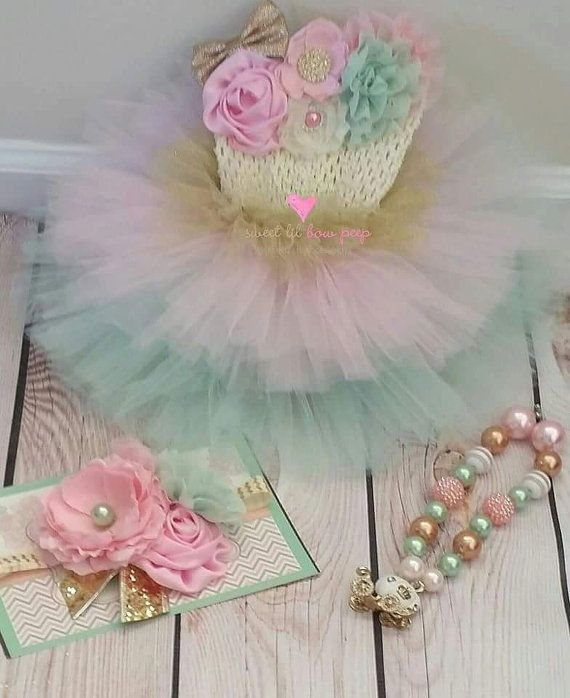 royal-tea pink mint and gold girls first birthday by BitsySparkle