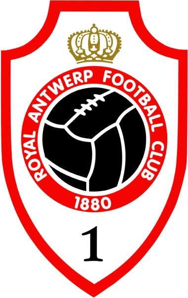 Het logo van Royal Antwerp Football Club met gouden kroon