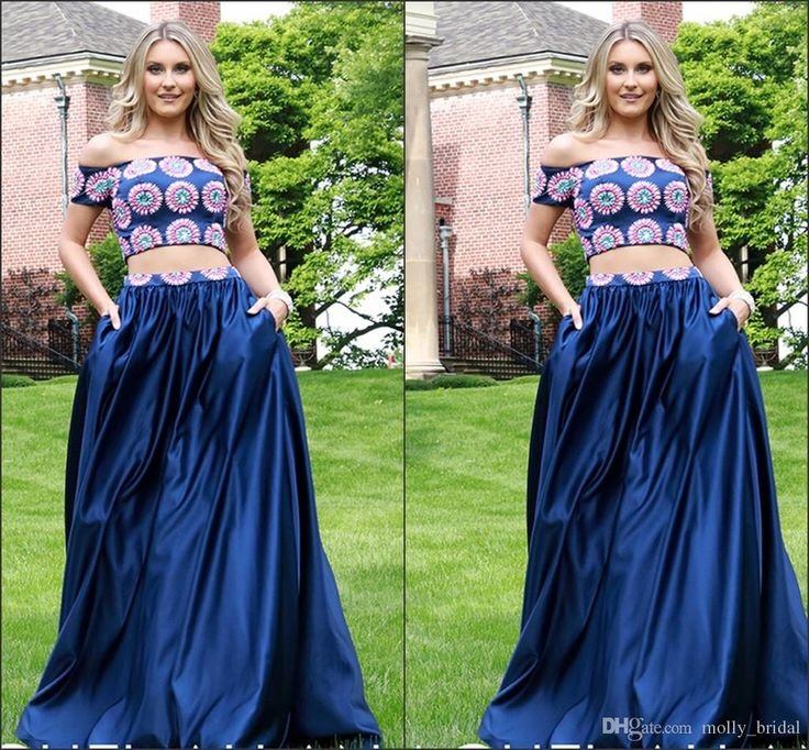 2016 Rachel Allan Two Pieces Prom Dresses Navy Blue Colorful Crystal Beaded Sexy Off The Shoulder Short Sleeve A Line Formal Evening Gowns Best Prom Dress Childrens Prom Dresses From Molly_bridal, $107.24  Dhgate.Com
