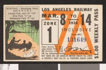 Los Angeles Railway weekly pass, 1936-03-08 :: LA as Subject