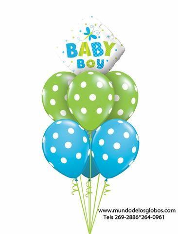 Bouquet de Diamante Baby Boy con Globos Azules y Verdes