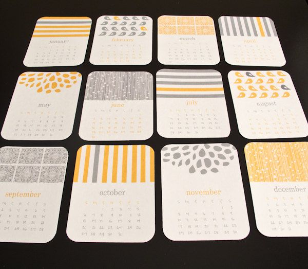 2013 Calendar - Printable wall or desk calendar - Modern Pattern Gray and yellow print calendar. $4.00, via Etsy.