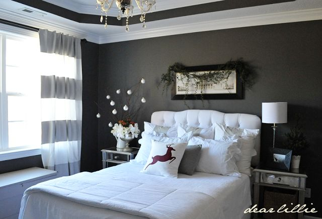 White and dark grey bedroom....will go perfect with our black and white nature p...