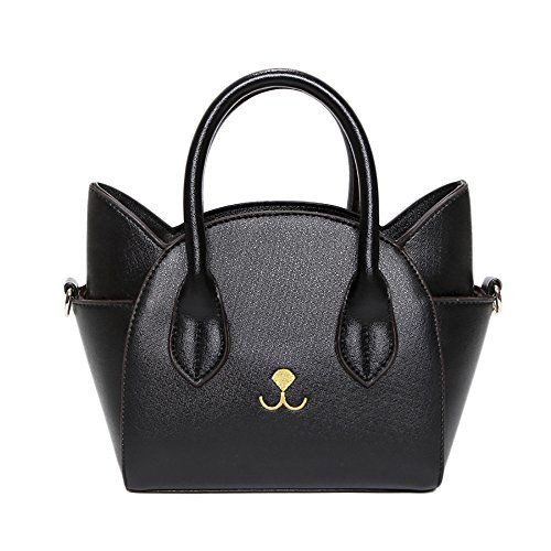 It's a cat purse!  Love this black leather handbag that looks like a cat!